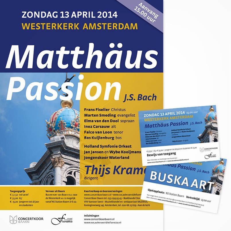 poster en buskaart concert in Amsterdam