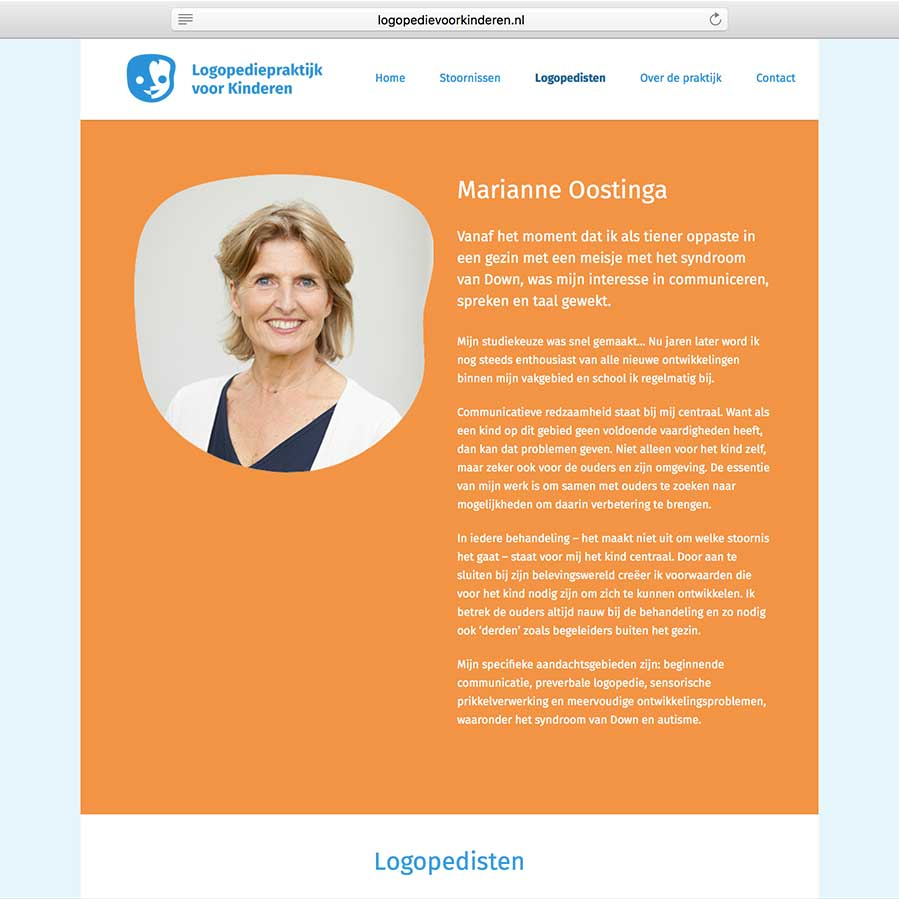 website Logopediepraktijk voor Kinderen